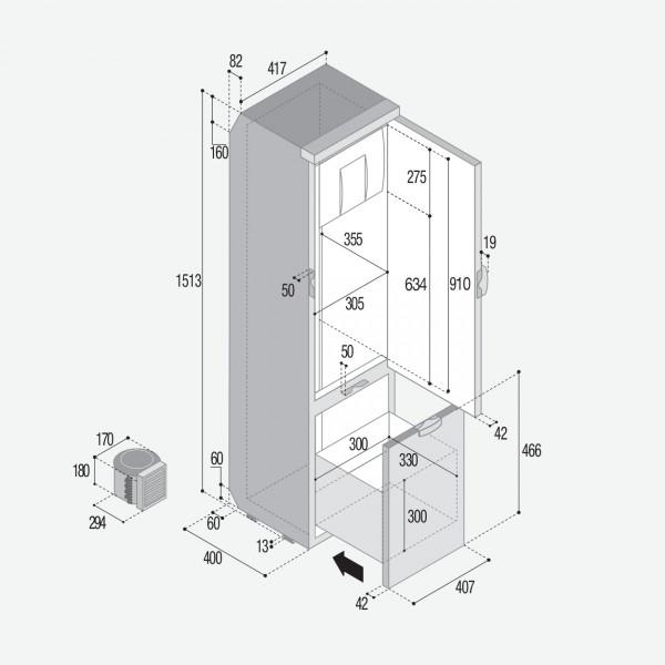 SLIM150 144 Litre 12/24 volt marine fridge freezer -DIMS