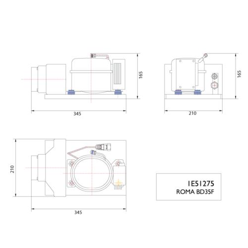 Roma BD35F 12/24V Compressor-DIMS