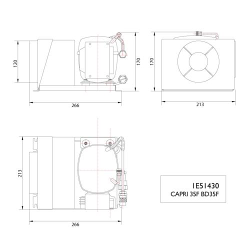 Capri 35F BD35F 12/24V Compressor-DIMS