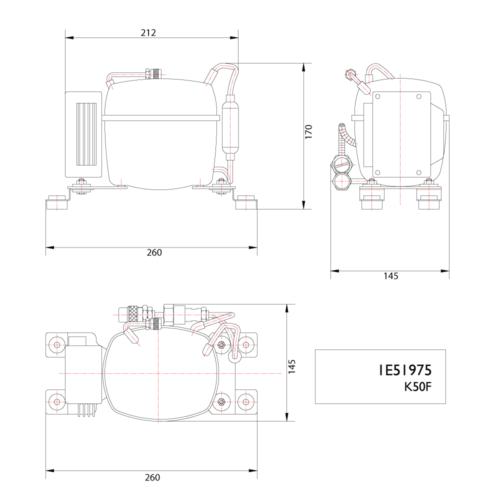 Keel Cooled K50F 12/24V BD35 Compressor-DIMS