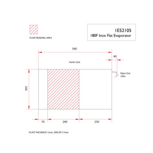 180F inox flat evaporator-DIMS