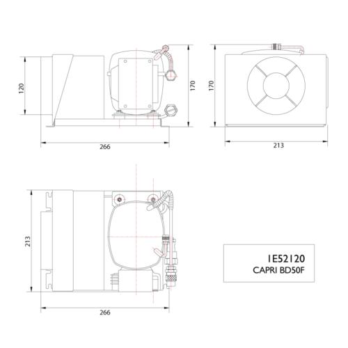 Capri BD50F 12/24V Compressor-DIMS