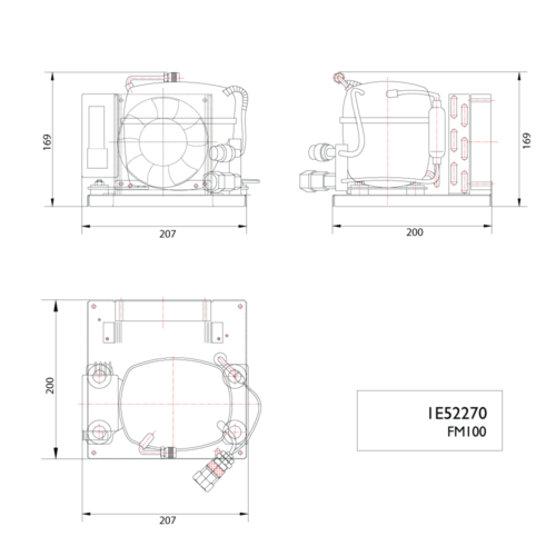 FM100 12/24V Air Cooled Compressor-DIMS