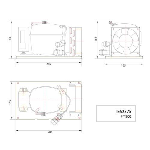 FM200 12/24V Air Cooled Compressor -DIMS