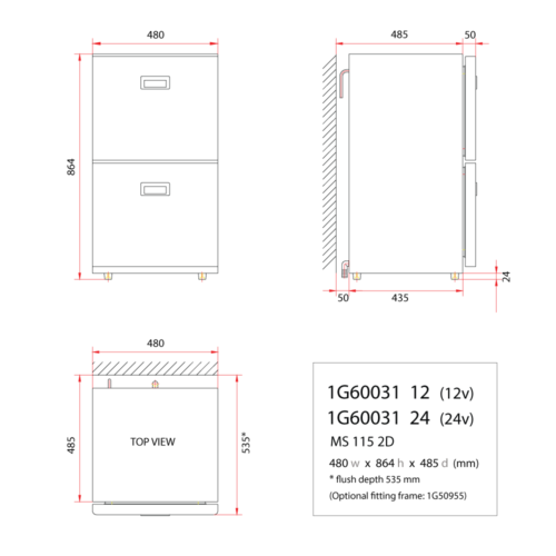 MS115 - 115 Litre stainless marine drawer fridge -DIMS