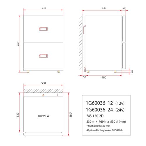 MS130 - 130 Litre stainless marine drawer fridge-DIMS