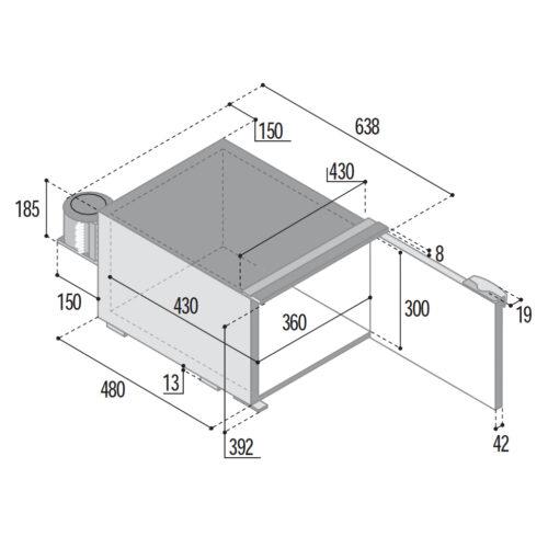 C47 - 47 Litre 12/24 volt marine fridge-DIMS