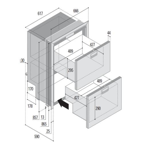 144 Litre 2 drawer 12/24 volt marine fridge or freezer with integral compressor-DIMS