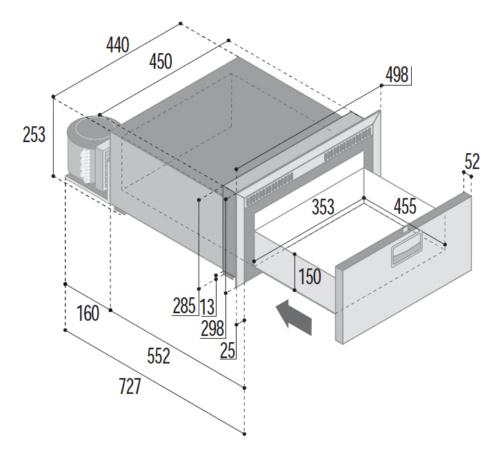 DW35 - 35 Litre single drawer fridge or freezer (select option)-DIMS