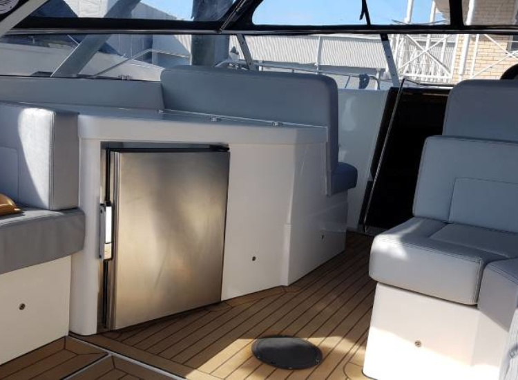 Cockpit fridge on Sunseeker Portofino '42