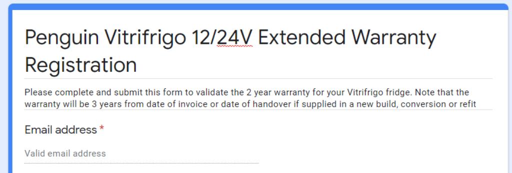 Vitrifrigo extended warranty